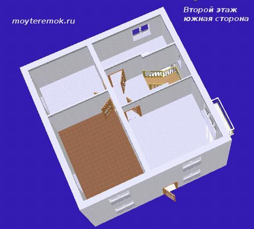 Вид в 3D второго этажа
