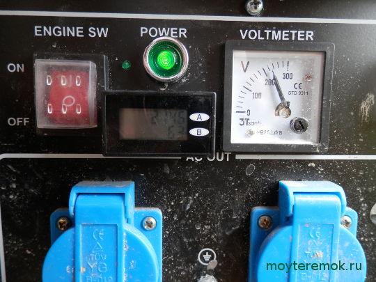Счетчик моточасов бензогенератора в работе