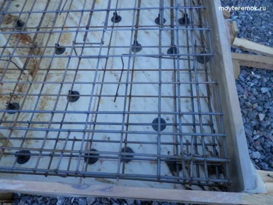 армирование плиты под стенами