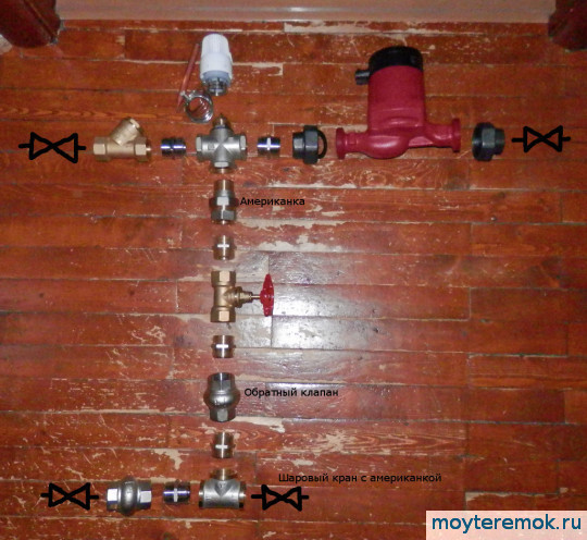 смесительный узел для теплого пола сборка